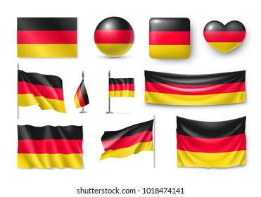 Set Germany flags, banners, banners, symbols, flat icon. Vector illustration of collection of national symbols on various objects and state signs