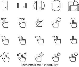 set of gesture icons, such as phone, hand, smartphone, touchscreen