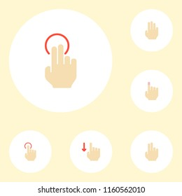 Set of gestures icons flat style symbols with finger, nudge, three and other icons for your web mobile app logo design.
