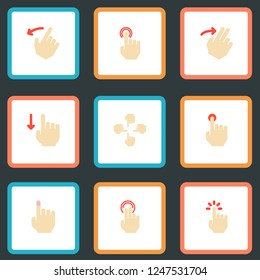 Set of gestures icons flat style symbols with multitouch, swipe, slide and other icons for your web mobile app logo design.