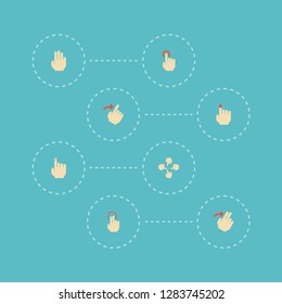 Set of gestures icons flat style symbols with slide, touchscreen, nudge and other icons for your web mobile app logo design.
