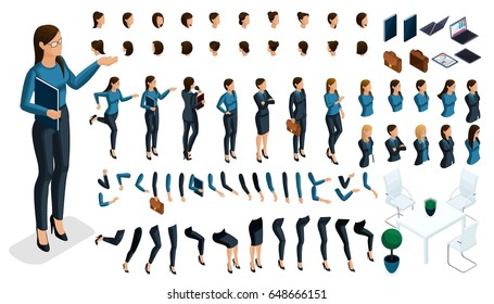 Set of gestures of a woman's hands, leg position in isometric to create a 3D business lady character. Create your character and group with different expressions