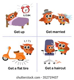 set of get activities, How to use get for kids.get up. get married.get a flat tire.get a haircut. vector background