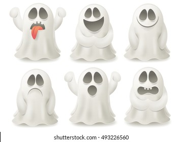 Set of ghost characters emoticons isolated on white background. Vector illustration