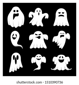 Set of Ghost  for Halloween Design Vector isolated. Happy Halloween Template Illustration