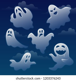 Set of ghosts with different emotions on sky with clouds. Funny spooky white wraiths. Anger, sad, surprised spirits. Vector illustration in flat style.