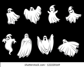 Set of ghosts for halloween holiday design isolated on background, such a logo template. Jpeg version also available in gallery