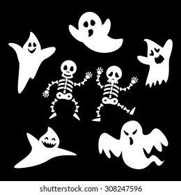 Set ghosts and skeleton of halloween day on black background. Vector illustration. Can use of banner, brochure, flyer, greeting card.