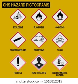 Set of GHS pictograms  on transparent background