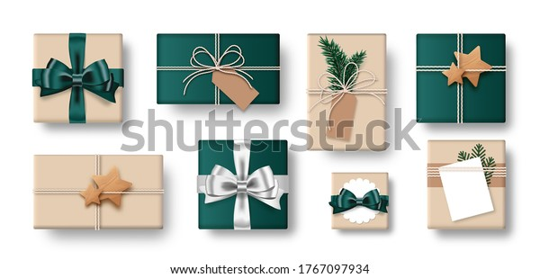 Set of gift box brown and green color isolated on white background. Collection of craft-style gift present. Top view. Vector Illustration.