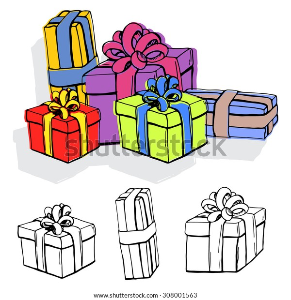 Set of gift boxes. Hand drawn vector illustration