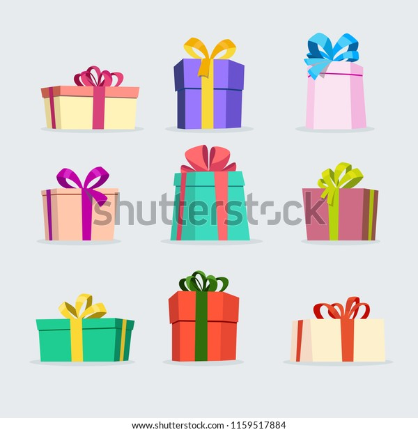 Set Gift Boxes Vector Stock Vector Royalty Free 1159517884