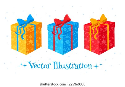 Set of gift boxes. Vector Illustration. isolated.