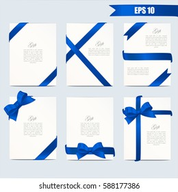 Set gift card vector illustration on grey background. Wide gift bow with blue ribbon and space for text. Template for voucher, invitation, gift, banner, certificate or poster design. Realistic style.
