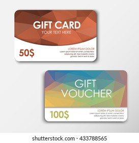 Set of gift cards, bronze and colored polygonal backgraund;  face value of $ 50, 100. Vector illustration.