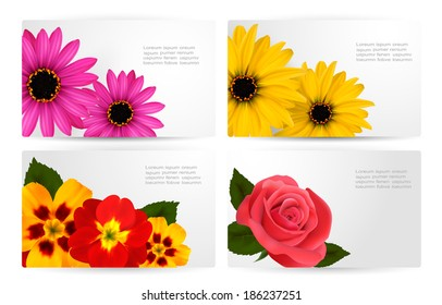 Set of gift cards with different colorful flower. Vector illustration.