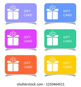 Set of gift cards or discount coupons.  Flat vector illustration.