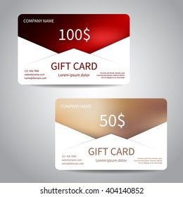 Set of gift cards or discount cards templates with polygonal background. Vector design EPS10