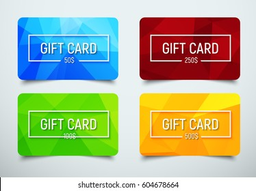 set of gift cards with a frame for text and denomination. Templates with a polygonal abstract background of blue, red, green and orange. Vector illustration