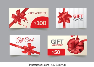 Set of gift cards with red bow and ribbon. Gift or credit card design template . Eps10 vector illustration.