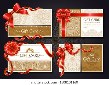 Set of gift cards with text and floral drawings vector. Certificates decorated with red ribbons and bows, celebration card for holiday or special event. Invitation design, present with coupon