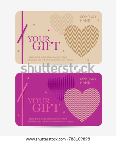 Set Gift Cards Valentines Day Gift Stock Vector Royalty Free