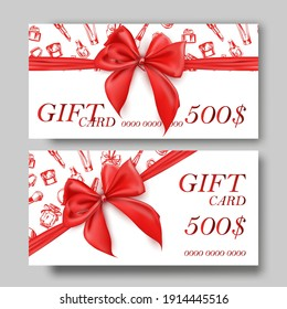 Set of gift cardsSet of luxury gift cards with a gold bow, with cosmetics items:lipstick, cream, mascara, perfume.Vector template for gift cards, and certificates for beauty salons, and cosmetics.