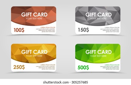 A set of gift (discount) cards with gold, silver, emerald and bronze geometric polygonal background.