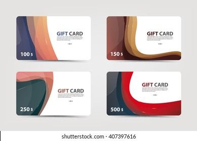 A set of gift and discount cards,banner templete with colorful abstract line backgrounds. Vector illustration.