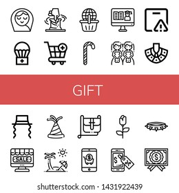 Set of gift icons such as Baby girl, Airdrop, Clay, Cart, Online shopping, Candy canes, Certificate, Brides, Important delivery, Necklace, Jewish, Online shop, Party hat , gift