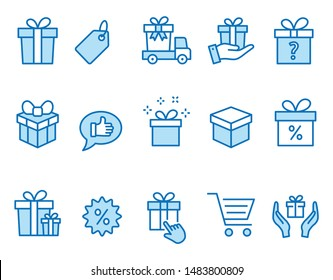 Set of gift icons, such as present, discount, package, price tag and more. Vector illustration isolated on white. Editable stroke.