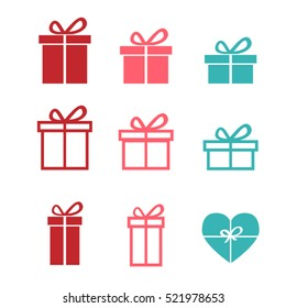 Set of gift icons and symbol, vector