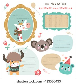 Set of gift tag/ sticker with cute animals