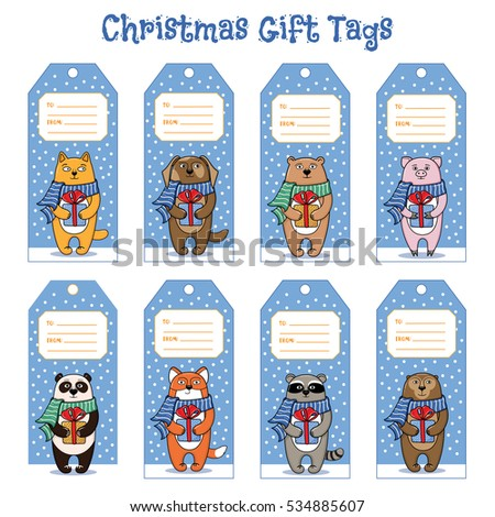 Set Gift Tags Christmas New Year Stock Vector Royalty Free