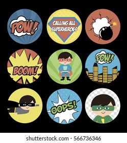 Set of gift tags with superheroes in comics style. Vector illustration