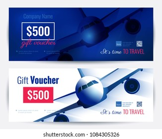 Set of gift travel voucher template.  Gift certificate for a holiday.  Vector flat illustration