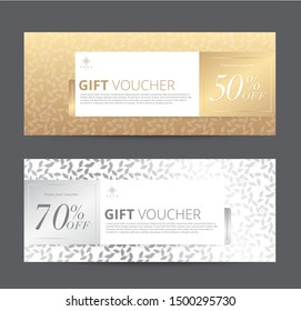 Set of Gift Voucher, Banner. Abstract gold and white background Color. Template, Leaf patterns. For Hotel Resort Spa Beauty Luxury shopping online. End of season. Vector illustration.