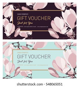 Set of Gift voucher. Gift card. Gift Certificate. Coupon template.  Background for the invitation, shop, beauty salon, spa. Flowers magnolia