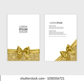 Set of Gift Voucher Card Template, Advertising or Sale. template with glitter texture and realistic bow illustration, vector eps 10