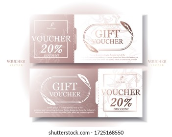 Set of Gift voucher Rose gold tone Decorated with rose gold leaf ellipse, sweet, modern, simple and elegant. Sales promotion. Illustration/Vector