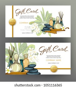 A set of gift vouchers for massage, SPA, with tropiñ flowers and objects for massage. Stock vectorillustration.