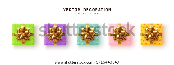 Set of gifts box chameleon coloring. Collection realistic gift presents, wrapping paper with pattern, color yellow, blue, purple and pink. flat lay, top view. vector illustration