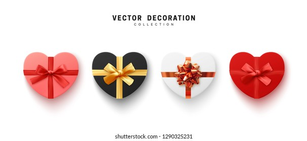 Set of Gifts box. Collection Isolated realistic gift presents in heart shape view top