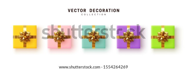 Set of gifts box. Collection realistic gift presents, color yellow, blue, purple and pink, green. flat lay, top view.