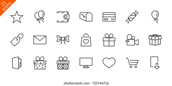 A set of gifts, vector line icons. Contains symbols gift cards, ribbons and more. Editable Stroke.