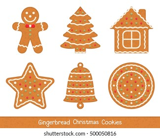 Set of gingerbread Christmas cookies - man, tree, house, star, bell and circle, vector eps10 illustration