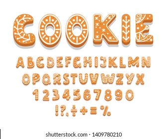Set of gingerbread cookies alphabet, numbers, holiday treat, sweet pastries of different shapes, punctuation marks, vector illustration