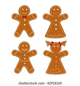 Set of Gingerbread cookies. Christmas cookies. Vector illustration.