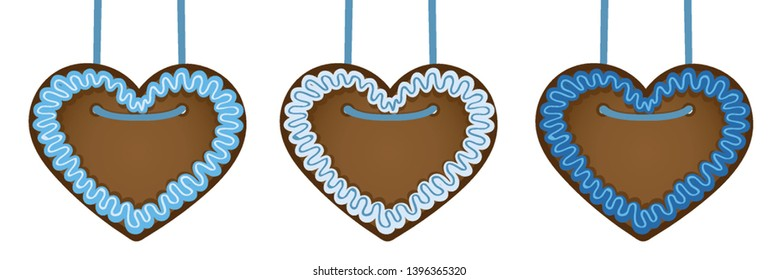 set of gingerbread hearts in blue colors vector illustration EPS10
