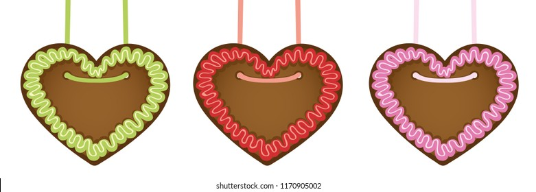 set of gingerbread hearts in different colors vector illustration EPS10